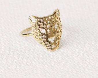 Tiger Ring, Filigree Gold Ring, Leopard Ring, Lace Ring, Pattern Ring, Statement Gold Ring Women, Animal Jewelry, Lion Ring, Panther Ring