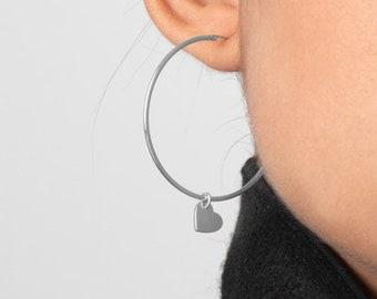 Large Hoop Earring, 40mm Hoop Earring,  Charm Hoop Earring, Heart Earring, Big Hoop Earring, Dangle Earring, Big Hoop Earring, Creole