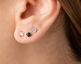 Mini Earring Stud, Black Onyx Earring,  Small Stud Earring, Earring Second Hole, Single Earring, Men Earring, Cartilage Earring, Dainty