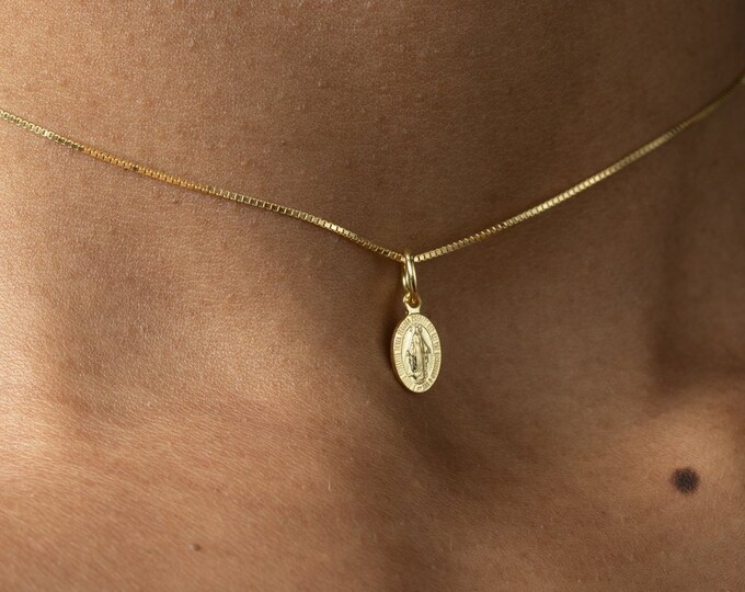 Miraculous Medal, Virgin Mary Necklace Gold, Dainty Choker Necklace, Catholic Gift,Blessed Mother,Vintage Religious Pendant,Tiny Miraculous