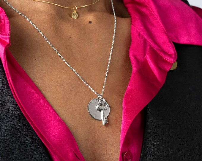Disc Charm Necklace, Double Charm Necklace, Custom Key Necklace, Best friend Necklace 2 , Engraved Disc Necklace, Sterling Silver Medallion