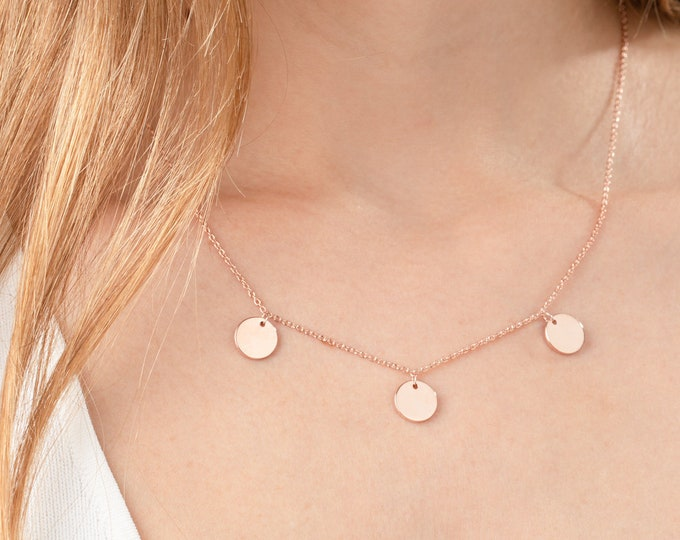 Rose Gold Disc Necklace, Three Disc Necklace, Dainty Necklace, Minimalist Necklace, Round Necklace Pendant, Circle Necklace, Triple Disc