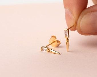 Small Charm Earring, Baguette Earring, Spike Earring, Dainty Earring, Minimalist Earring, Dangle Earring, Cz Earring, Crystal Earring, Drop