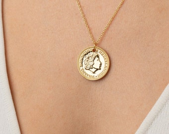 Coin Necklace for Women, Coin Necklace Gold Filled,Coin Necklace Vintage,Queen Necklace,Sterling Silver Coin Necklace,European Coin Necklace