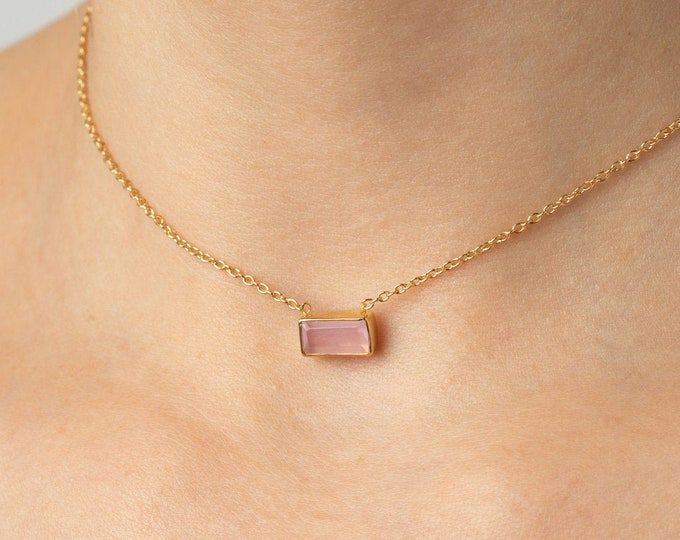 Rose Quartz Choker Necklace, Gem Choker, Pink Stone Necklace, Minimalist Choker, Crystal Quartz Necklace, Dainty Choker, Delicate Choker