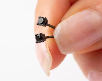 Black Onyx Earring Stud, Men Earring Sterling Silver, 3mm Stud Earring, Earring Second Hole, Tiny Stud Earring, Single Earring, Mini Earring