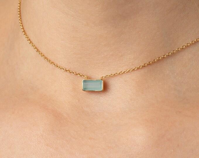 Aquamarine Choker Necklace, Aqua Chalcedony Necklace, Stone Choker Necklaces Women, Minimalist Choker, Tiny Choker Necklace, Dainty Choker