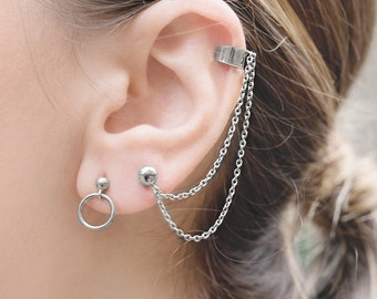 Tiny Hoop Earrings, Creole Hoop Earring, Gold Second Hole Earring, Tiny Dangle Hoop Earring,Front Hoop Earring,Dainty Earring,Simple Jewelry