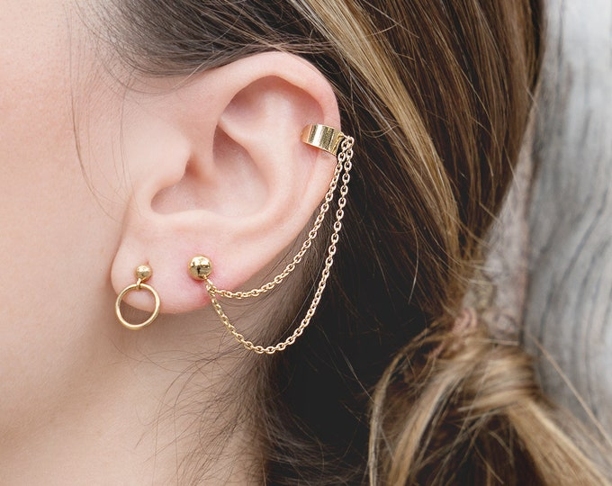 Ear Cuff Chain and Earring, Bohemian Ear Cuff, Ear Chain Piercing, Double Chain Earrings, Ear Cuff No Piercing, Double Cuff No Piercing