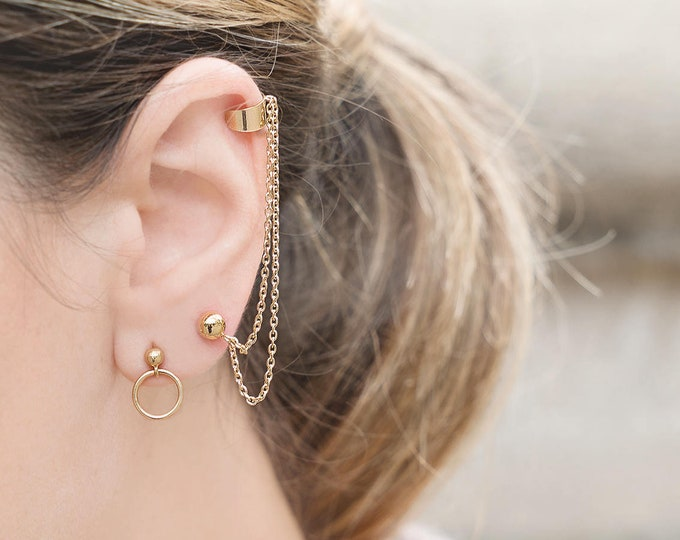 Ear Cuff Chain,  Gold Double Chain Earrings, Double Cuff No Piercing, Chain Ball Studs,  Long Chain Crawlers, Ear Cuff No Piercing,