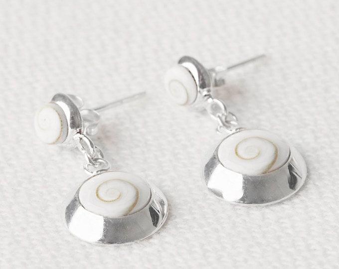 Seashell Dangle Earrings - Spiral Silver Earrings - White Stone Earrings - Conch Shell Earrings - Snail Shell Earrings - White Shell Earring