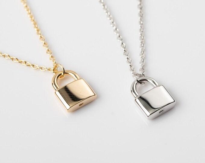Padlock Necklace Sterling Silver, Tiny Lock Necklace, Dainty Gold Lock Necklace,Simple Necklace Women, Padlock Pendant, Best Friend Necklace