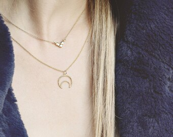 Crescent Moon Necklace, Half Moon Necklace Gold, Upside Down Moon Necklace, Dainty Moon Charm, Moon Phase Necklace, Celestial Jewelry