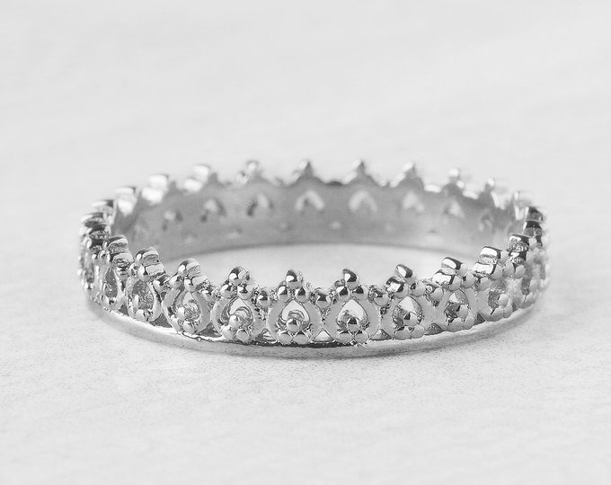 Dainty 925 Sterling Silver Crown Ring, Princess Ring, Tiny Crown Ring, Royal Ring, Filigree Ring Art Deco, Lace Ring,Baroque Ring,Queen Ring