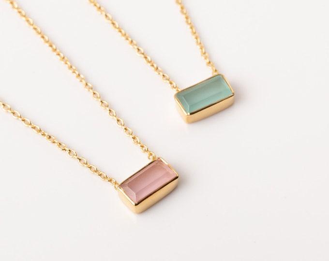 Rose Quartz Choker Necklace, Aquamarine Choker Necklace, Aqua Chalcedony Necklace, Stone Necklaces Women, Minimalist Choker, Dainty Choker