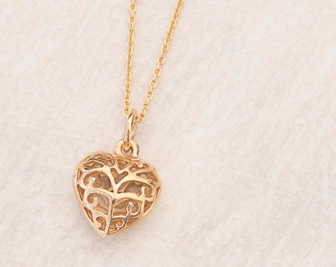 Gold Heart Necklace, Filigree Heart Necklace, Boho Necklace, Girlfriend Necklace, Gift Her, Gold Fill Necklace Women, Romantic Necklace
