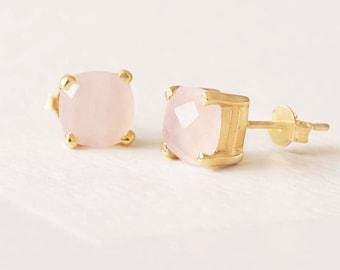 Rose Gold Rose Quartz Earring, Gem Earring Stud, Gold Fill Stud, Pink Quartz Earring, Facet Rose Quartz Earring,Sterling Silver Earring Stud