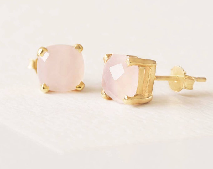 Rose Gold Rose Quartz Earring, Gem Earring Stud, Gold Fill Stud, Pink Quartz Earring, Facet Rose Quartz Earring,Sterling Silver Earring Stud
