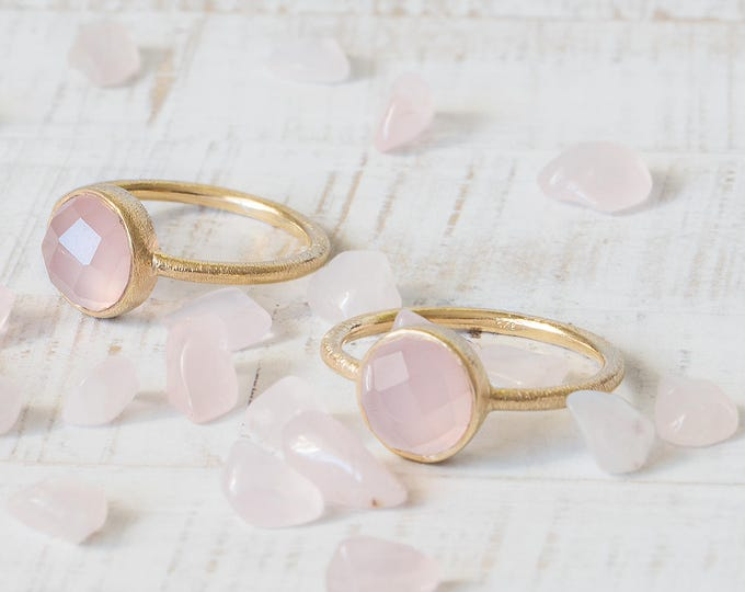 Rose Quartz Ring, Gold Gemstone Ring, Pink Quartz Jewelry, Matching Jewelry Set, Mineral Ring, Stack Ring Set, 2 Ring Set, 10mm stone Ring