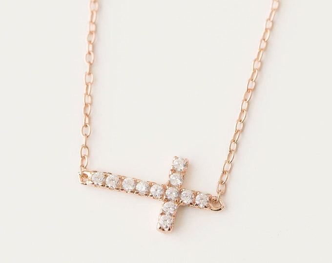 Diamond Cross Necklace Women, Rose Gold Cross Necklace, Cz Cross Necklace, Horizontal Cross, Christian Cross Necklace, Religious Jewelry