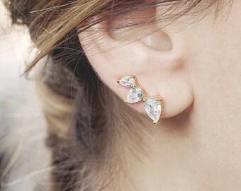 Small Ear Climber, Ear Pin, diamond Drop Earring, Ear Crawler Earring, Ear Cuff No Piercing, Pearl Ear Jacket, June Birthstone Earring