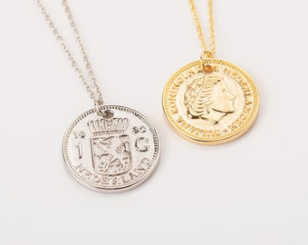 Coin Necklace Sterling Silver, Coin Necklace for Women, Coin Necklace Vintage, Queen Necklace, Sterling Silver Coin Necklace, European Coin