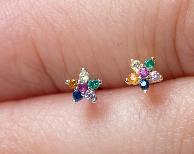 Tiny Flower Stud Earring, Rainbow Earring Stud, Small Diamond Earring, flower sterling silver earrings, Daisy Earring, Second Hole Earring