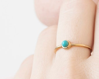 Turquoise Gold Ring, Arizona Turquoise Ring, December Birthstone Jewelry, Tiny Turquoise Ring, Dainty Turquoise Ring, Dot Ring, Small Ring