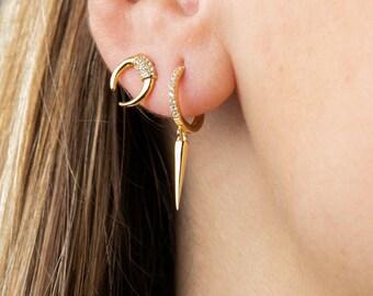 Spike Hoop Earrings, Charm Hoop Earrings, Minimalist Earring, Cone Earring, Earrings Second Hole, Dainty Earring, Gold Plated Dangle Earring