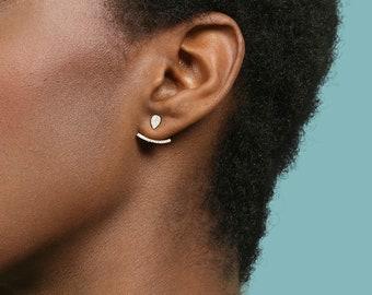 Earring Jacket, Ear Jacket Silver, Small Stud Earring Set, Ear Cuff, Cz Bar Earring, Double Side Earring, Small Ear Climber, Curve Earring