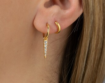 Charm Hoop Earring Sterling Silver, Spike Hoop Earring, Huggie Earring,Minimalist Earring, Dainty Earring, Earring Second Hole, Triangle