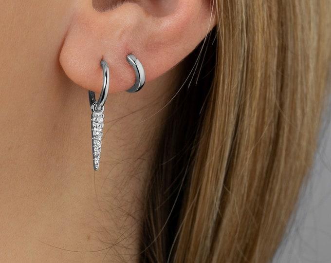 Charm Hoop Earring, Spike Hoop Earring, Huggie Earring,Minimalist Earring, Dainty Earring,Earring Second Hole, Simple Earring,Delicate Hoop