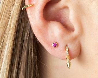 2mm Stud Earring, Tiny Stud Earring, Ruby Earring Stud, Earring Second Hole, Stud Earring Set, 2mm gold stud, Mini Stud Earring, Single Stud
