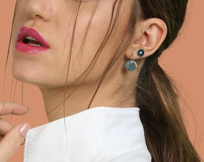 Flat Stud Earrings Disk, Second Hole Earring Stud Sterling Silver, Second Hole Earring Diamond,Disc Earring, Piercing Earring,Dainty Jewelry