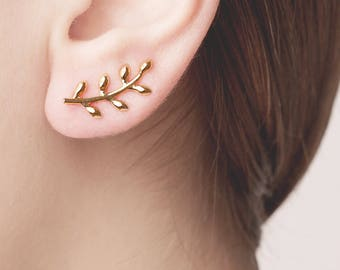 Gold Olive Leaf Earring, Curve Cartilage,Ear Climber Flower,Earlobe, Leaf Ear Jacket, Nature earring, Olive Branch Jewelry, Leaves Cartilage
