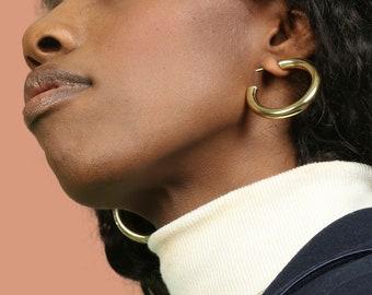 Hollow Hoop Earring, Thick Gold Hoop, Chunky Hoop Earring, Tube Hoop Earring, Gold Fill Hoop, Sterling Silver Hoop, Open Hoop Earring,Creole