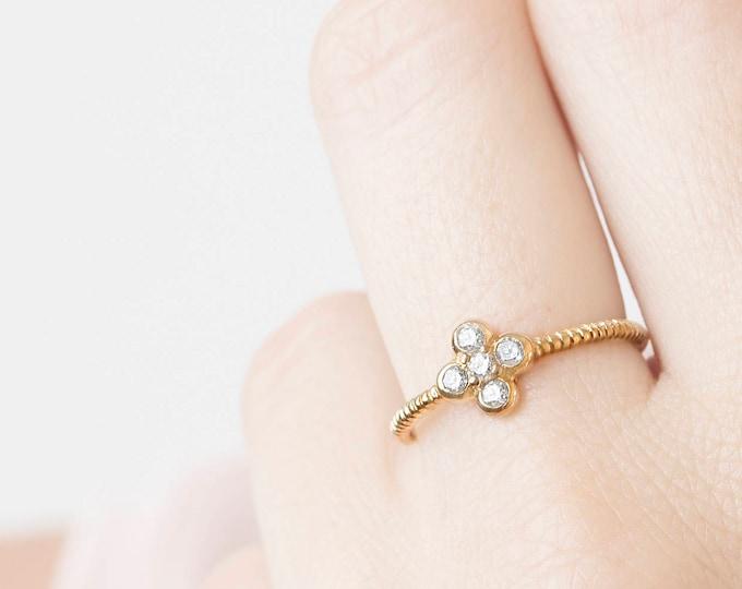 Flower Diamond Ring, Diamond Cluster Ring, Daisy Ring Gold, Cz Ring, Zircon Ring, Super Dainty Ring, Delicate Ring, Minimalist Ring