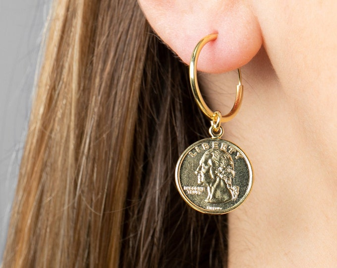 Coin Earring, Sterling Silver Coin Earring, Coin Earring Dangle, Usa Gift, Large Dangle Hoop Earring, Dollar Hoop, 15mm hoop,In God We Trust