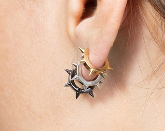 Spike Hoop, Men Earring, Black Spike Earrings, Sterling Silver Huggie Earring, Small Hoop Earring,Earring Second Hole,Spike Huggie, Single