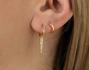 Spike Hoop Earring, Small Dangle Earring, Gold Plate Hoop Earring, Gold Fill Earring, Dainty Earring, Earring Second Hole, Single Earring