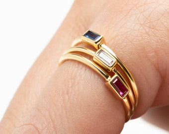 Dainty Stack Ring, Rectangle Ring,Baguette Ring, Gold Fill Stack Ring Set, Ruby Ring, Blue Sapphire Ring, Cz Ring, Crystal Ring, Minimalist