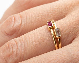 Stack Ring Women, Baguette Ring, Ruby Ring, Clear Ring, Zircon Ring, Crystal Ring, Dainty Ring, Minimalist Ring, Rectangle Ring, Delicate