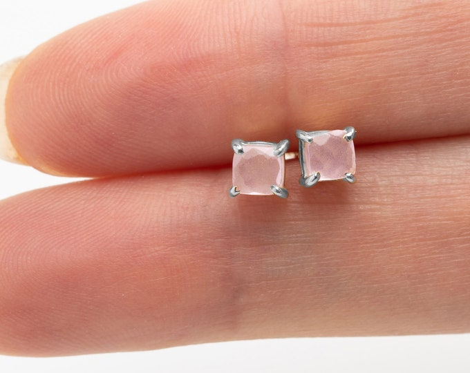 Small Stone Earring, Rose Quartz Earring,Gem Earring, Pink Quartz Earring, Facet Rose Quartz Earring, Sterling Silver Earring Stud, Gift Her
