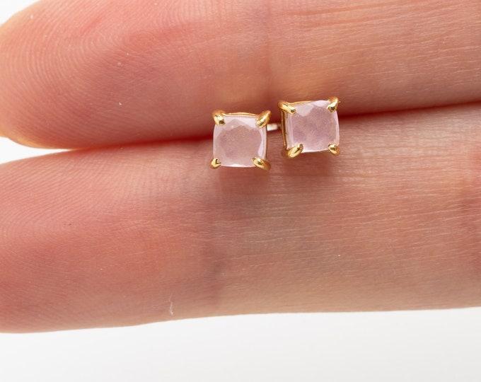 Rose Quartz Earring, Gem Earring, Gold Fill Stud, Pink Quartz Earring, Facet Rose Quartz Earring, Sterling Silver Earring, Mineral  Earring