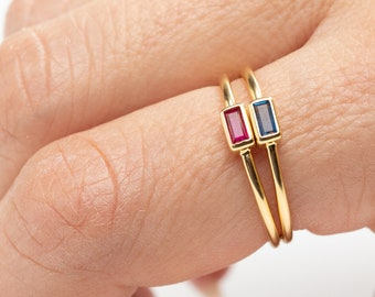 Stack Ring Stone, Baguette Ring, Ruby Ring, Blue Sapphire Ring, Zircon Crystal Ring, Dainty Ring, Minimalist Ring, Rectangle Ring, Delicate