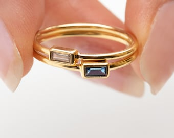 Rectangle Ring,Baguette Ring, Blue Sapphire Ring, Clear Ring, Zircon Ring, Crystal Ring, Dainty Ring, Gold Fill Ring, Minimalist Ring