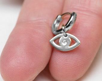 Cham Hoop Earring, Dangle Earring Women Sterling Silver,  Evil Eye Earring, Dainty Earring, Protection Jewelry, Huggie Earring Charm