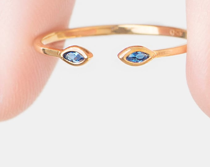 Blue Sapphire Ring, Blue Zircon Ring, Marquise Dual Ring, Open Ring,  Adjust Gold Ring Women, Dainty Crystal Stack Ring, Cz Women Ring