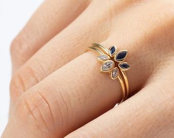 Stack Ring Diamond, Crown Ring, Vintage Tiara Ring, Blue Sapphire Ring, Marquise Stone Ring, Gold Cz Ring, Princess Ring, Flower Ring