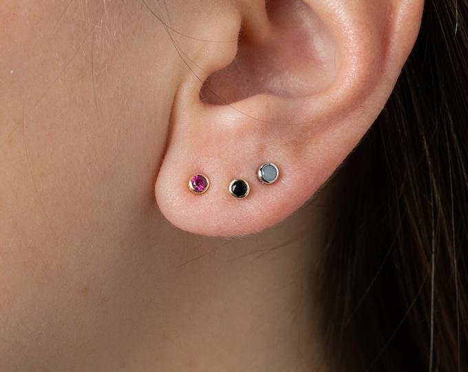 Tiny Stud Earring, Mini Silver Stud,Black Stud,Second Hole Earring,Silver Post Earring,Piercing Stud, Men Stud Earring, 2mm Stud, Black Onyx